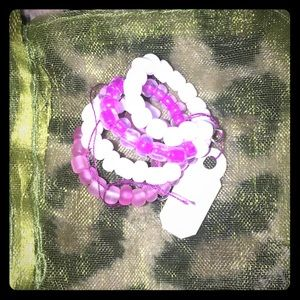 Handmade Pink and white beaded 4 layer ring